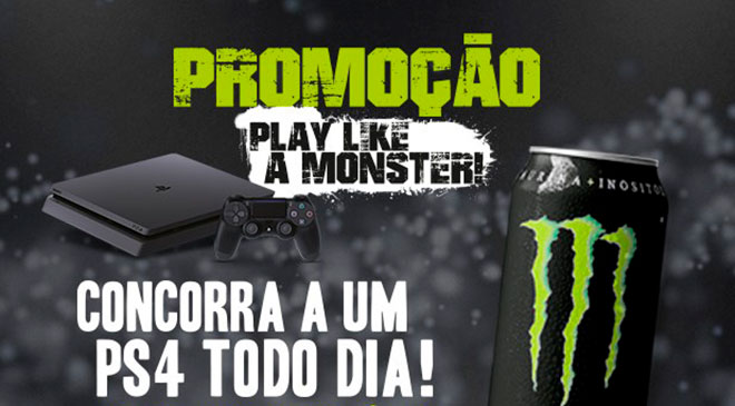 Monster Energy contempla sorteio de um Playstation por dia