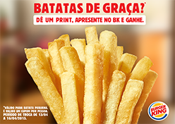 Burger King distribui batatas de graça
