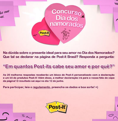 post-it,namorados,concurso